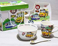 Посуда детская из фарфора Машинки Go (4 предмета)