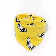 Нагрудник тканевий  на кнопочек(NT-70012) (Желтый,собачка)