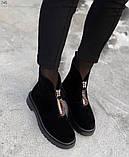 Женские демисезонные ботинки на молнии с камнями, фото 3