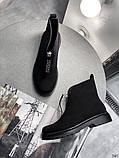 Женские демисезонные ботинки на молнии с камнями, фото 5