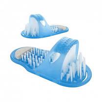 Массажный тапочек Easy Feet Щётка-массажёр для ног Голубой   Щётка для ног, фото 2