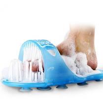 Массажный тапочек Easy Feet Щётка-массажёр для ног Голубой   Щётка для ног, фото 3