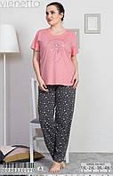 Пижама женская Комплект футболка с штанами для дома и сна (батал) хлопок Х/Б Vienetta (Турция)