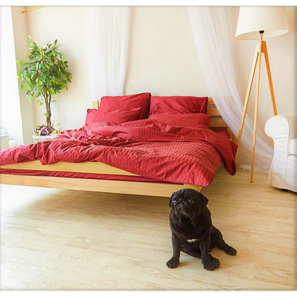 Постельное белье Страйп-сатин Красный (Турция) ТМ Царский дом  (Полуторный), фото 2