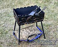 Мангал кованный раскладной чемодан (кочерга и совок), на 6 шампуров