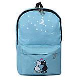 Міський рюкзак для дівчаток 4 предмета Котики блакитний 154082, фото 2