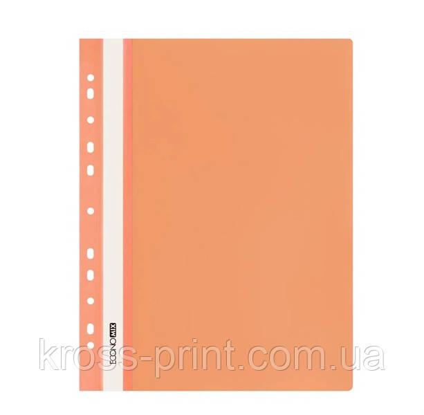 Скоросшиватель пластиковый с перфорацией А4 Economix 31510-06 оранжевый 30/300шт/уп