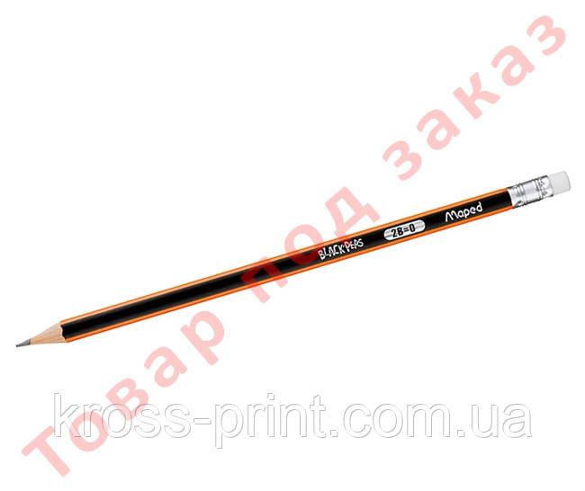 Карандаш графитовый BLACK PEPS, 2B, с ластиком MP.851722