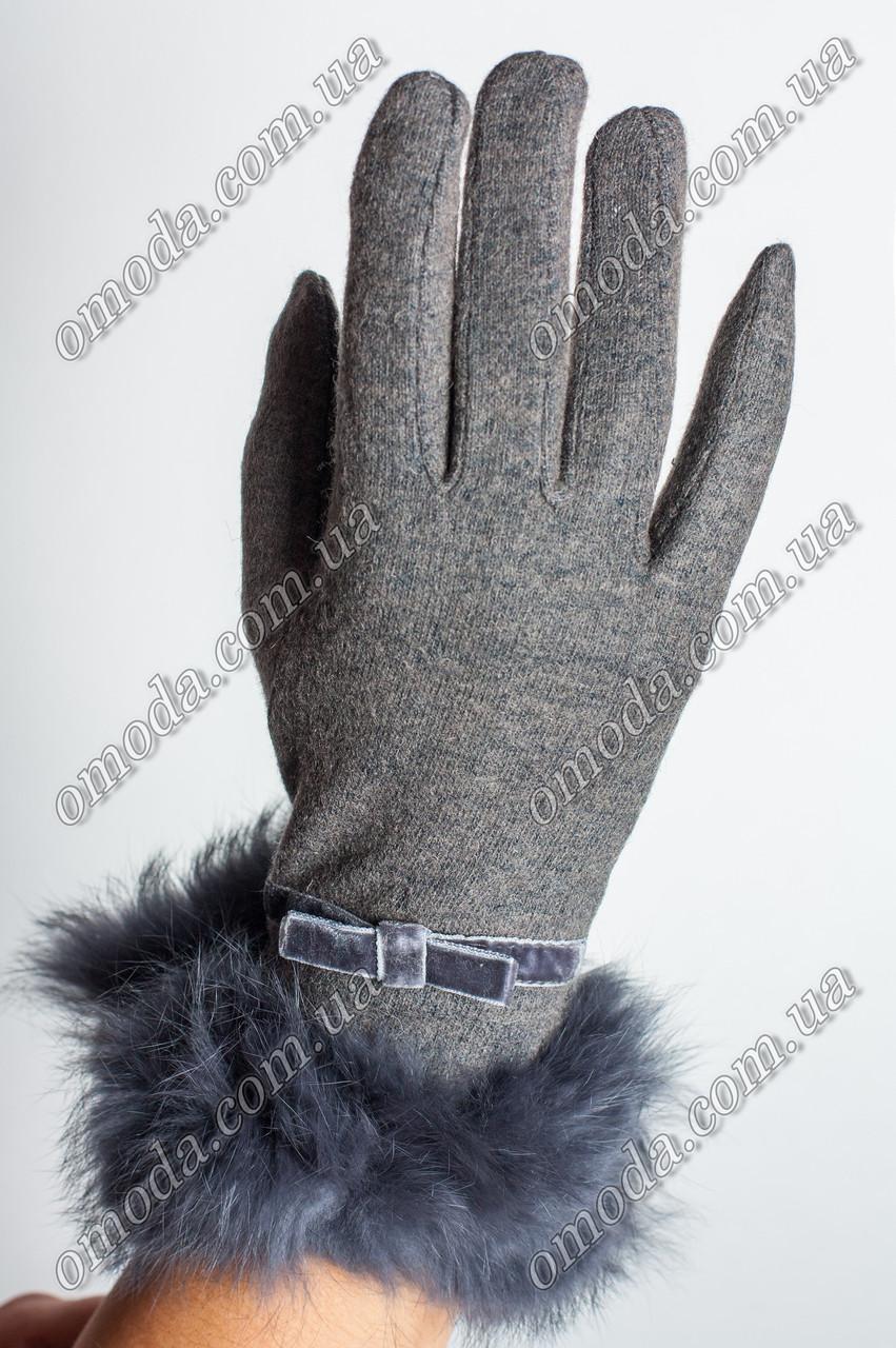 Женские зимние перчатки с мехом серые