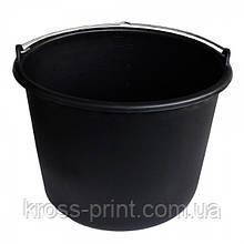Ведро 12л пластиковое металлическая ручка черное