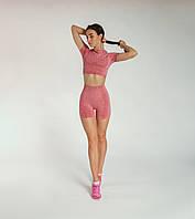 Спортивный костюм женский для фитнеса 2в1 шорты для спорта Спортивный топ Одежда для фитнеса