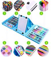 Набор для рисования чемодан из 208 предметов с мольбертом для художества голубой