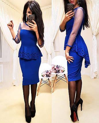 Платье миди с необычной баской и рукавами из сетки, фото 2