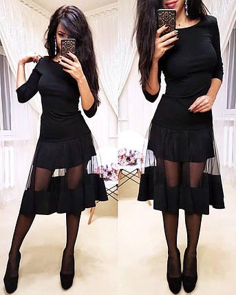 Дуже красиве нарядне плаття міді зі вставками з сітки і рукавом, фото 2