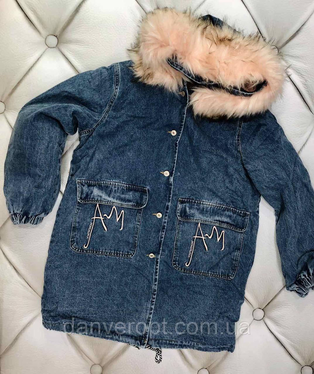 Куртка-парка джинсовая женская стильная на меху размер M-L, купить оптом со склада 7 км Одесса
