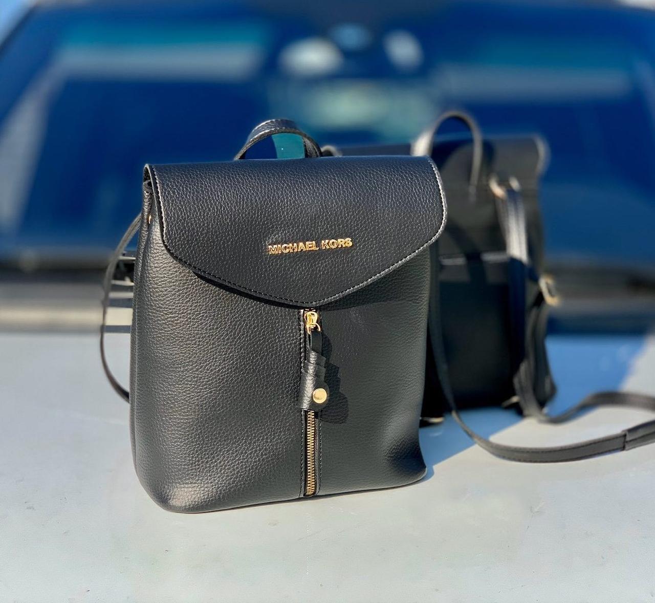 Рюкзак женский черный молодежный городской модный брендовый рюкзачок кожзам