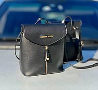 Рюкзак женский черный молодежный городской модный брендовый рюкзачок кожзам, фото 1