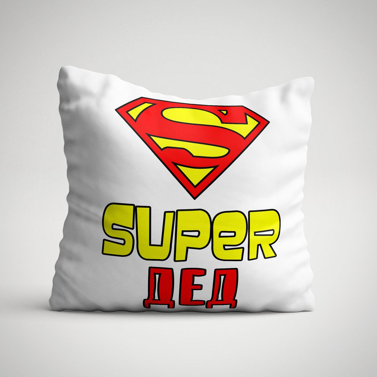 """Подушка с надписью """"Супер дед"""""""
