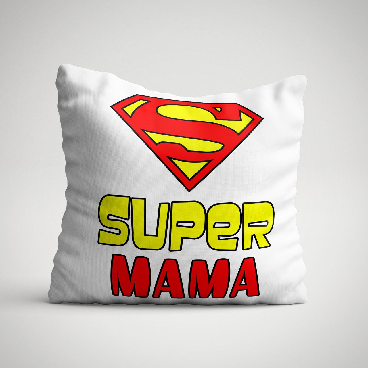 """Подушка с надписью """"Супер мама"""""""