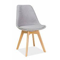 Серые мягкие стулья на кухню Signal Dior с ножками из бука в скандинавском стиле Польша