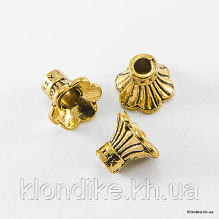 Конус Шапочки для Бусин, Бижутерный Сплав, 9×10.5×11 мм, отв. 3 мм, Цвет: Античное Золото (10 шт.)