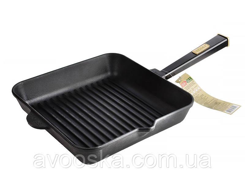 Чавунна квадратна сковорода гриль Brizoll Optima Black 280хх50мм О282850Г-Р1
