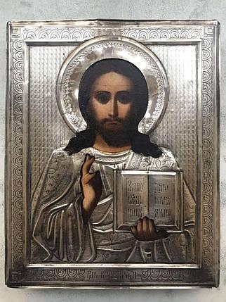 Икона Господь Вседержитель Спаситель 19 век серебро 84пр., фото 2