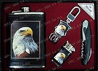 Набор для мужчины Фляга+зажигалка+складной нож+удобный брелок Набор подарок мужу Стильные подарки