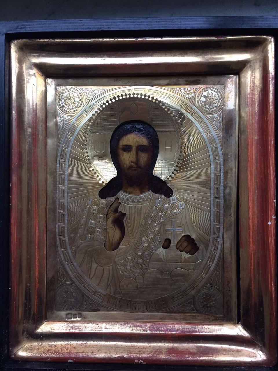 Икона Господь Вседержитель Спаситель 19 век серебро 84пр.