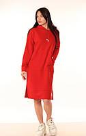 Женское платье-Худи Quest Wear красное, платье свободного кроя - длина до колен , линия плеча - спущена