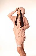 Женское платье-Худи Quest Wear пудра, платье свободного кроя - длина до колен , линия плеча - спущена