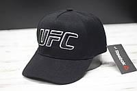 Мужская кепка бейсболка Рибок UFC надпись с переди черная с белым