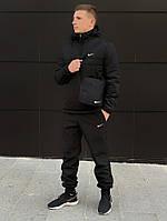 Куртка анорак демисезонный мужской с капюшоном Найк + Штаны + подарок Барсетка черный