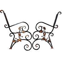 Изящные бока с веточками ручной ковки для садовой скамьи, фото 1