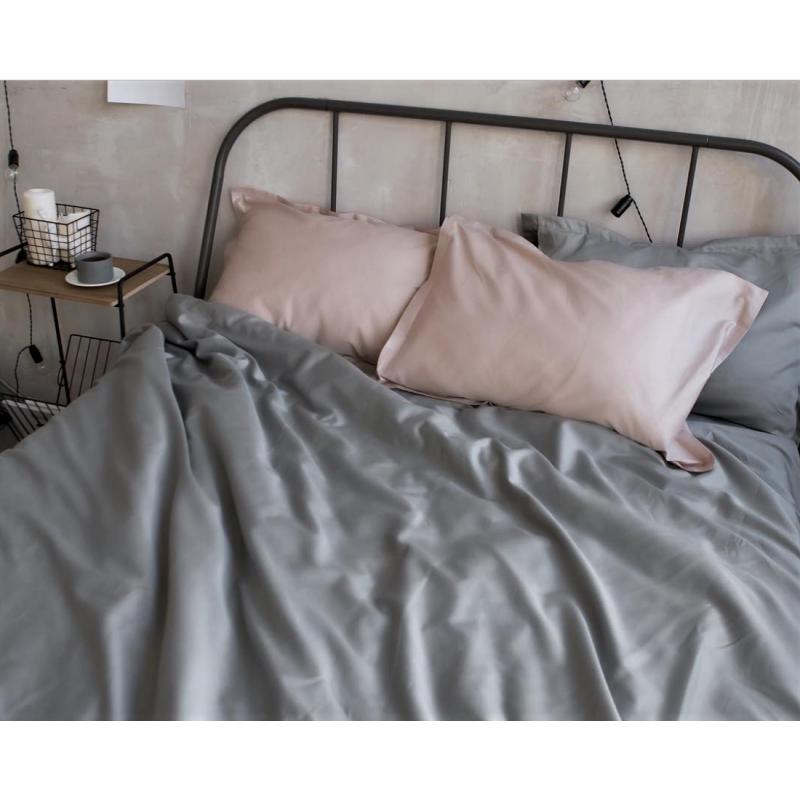 Постельное белье сатин Light Grey (Турция) ТМ Царский дом  (Двуспальный)