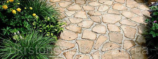камень плитняк окатанный песчаник купить, дорожка из камня