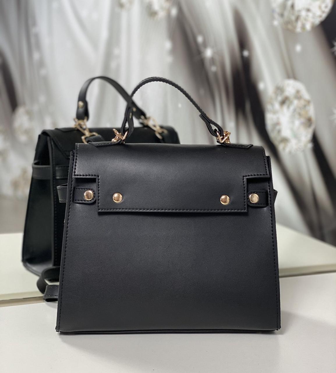 Женская каркасная сумка офисная деловая классическая небольшая экокожа
