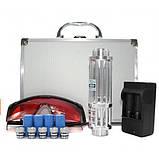 Синяя лазерная указка с насадками Blue Laser B017  + Кейс в подарок, фото 3