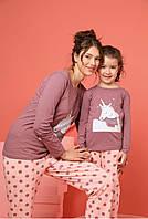 Турецькі піжами з єдинорогом Family look однакові для мами і доньки, фото 1