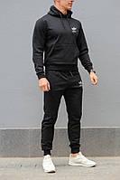 Черный мужской спортивный костюм Адидас штаны + худи с капюшоном, весна-осень (реплика)