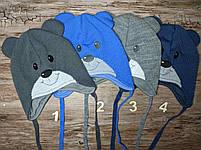 Демисезонниа шапка на завязках мишка подкладка хлопок Размер 44-46 см Возраст 6-12 месяцев, фото 2