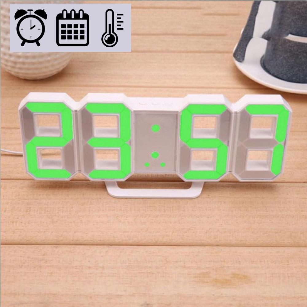 Електронні LED годинник з будильником термометром від USB Caixing CX-2218 зелена підсвітка