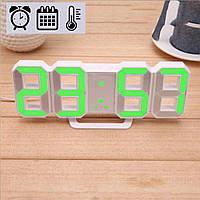 Электронные LED часы с будильником термометром от USB Caixing CX-2218 зеленая подсветка