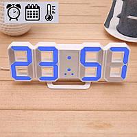 Электронные LED часы с будильником термометром от USB Caixing CX-2218 синяя подсветка