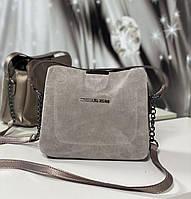 Небольшая замшевая женская сумочка через плечо сумка капучино натуральная замша+кожзам, фото 1
