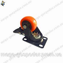 Колесо полиуретановое поворотное с тормозом D-50мм