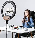 Кольцевая LED лампа диаметром 45см с пультом и 3 держателями, фото 7