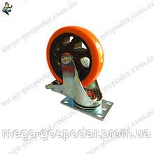 Колесо полиуретановое поворотное с тормозом D-100мм