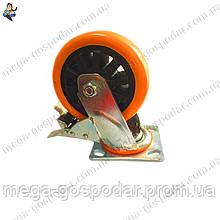 Колесо полиуретановое поворотное с тормозом D-150мм