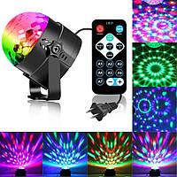 Диско шар мини цветомузыка Led Party Light 3 цвета с пультом